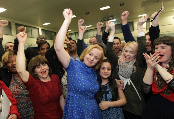 27/2/2016. General Election 2016 - Counting of Votes. Scenes from the counting of votes for the Dublin West Constituency, at the Phibblestown Communmity Hall Count Centre in Blanchardstown, Dublin. Photo shows Anti Austerity Alliance candidate Ruth Coppinger after winning a seat in her constituency. Photo:RollingNews.ie